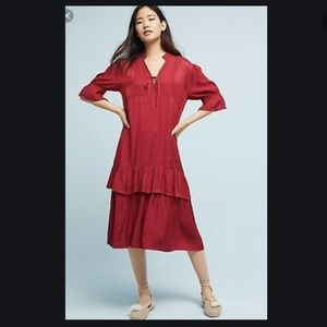 Anthropologie Lacausa Tier Ruffle Silky Red Dress